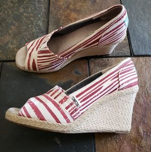 Toms slip on peep toe jute wedges
